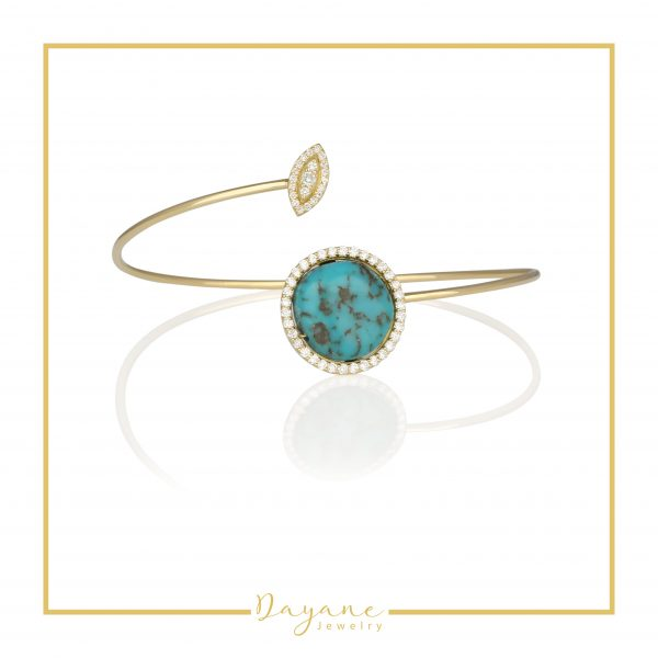 Turquoise and Diamond Bangle